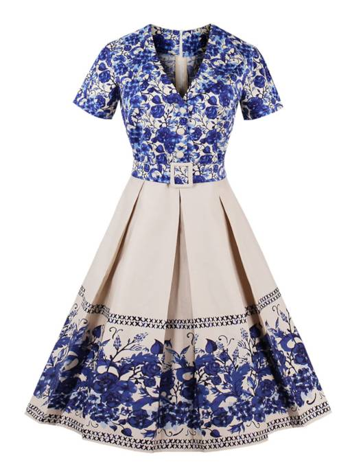 Blue and White Porcelain Lapel Women's Day Dress