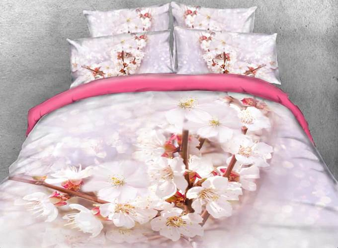 Cherry Blossom Printed Cotton 4-Piece 3D Bedding Sets/Duvet Covers