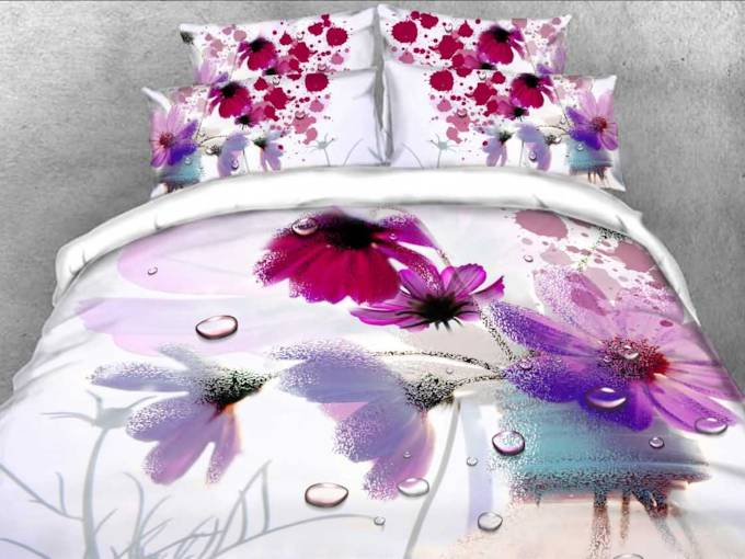 3D Watercolor Poppy Printed Cotton 4-Piece Bedding Sets/Duvet Covers