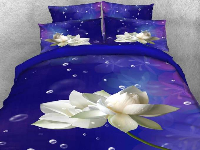 3D White Lotus and Bubbles Printed 4-Piece Purple Bedding Sets/Duvet Covers