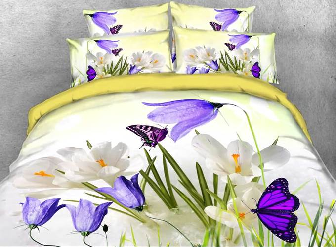Saffron Crocus and Butterfly Printed Cotton 4-Piece 3D Bedding Sets/Duvet Covers