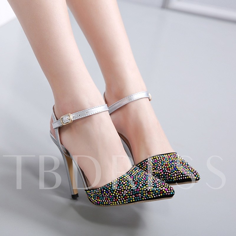 Candy Color Rhinestone Stiletto Heel Ankle Strap Women's Sandals