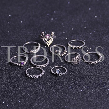Crown Acrylic Alloy Hollow Out Rhinestone Set Ring