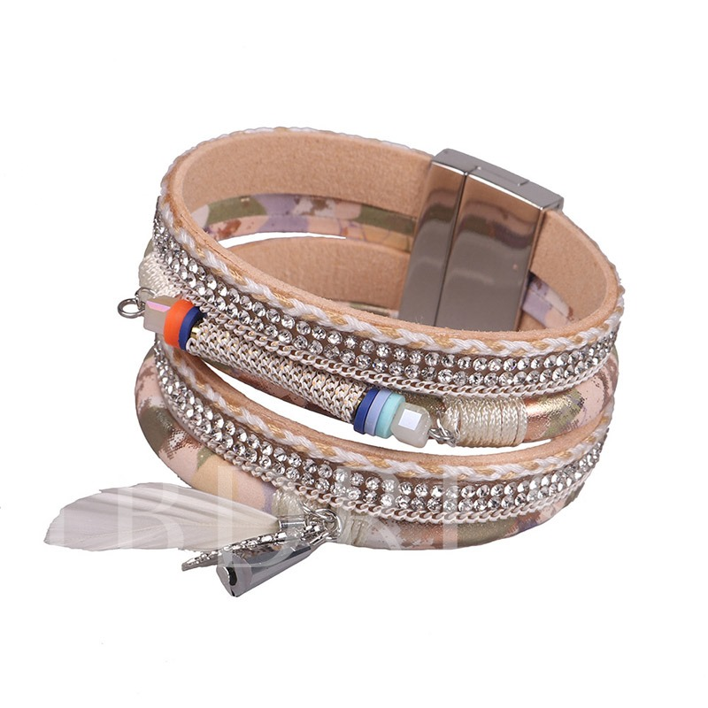 Woven Artificial Leather Multilayer Feather Bracelet