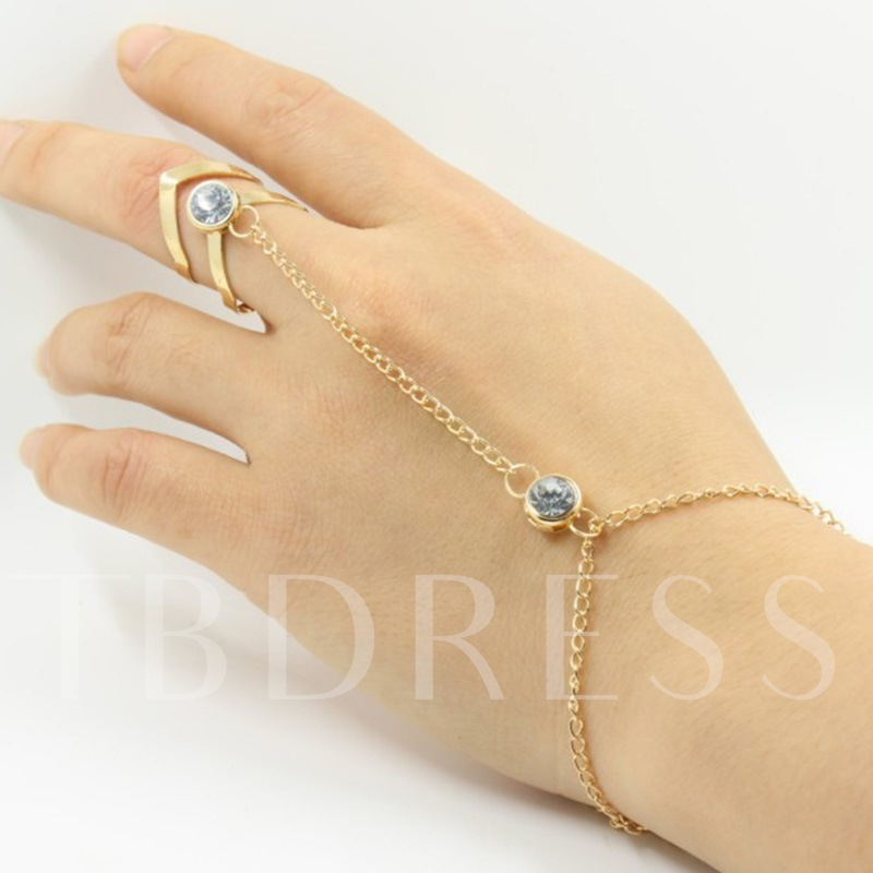 Simple Rhinestone Hollow Out Conjoined Ring