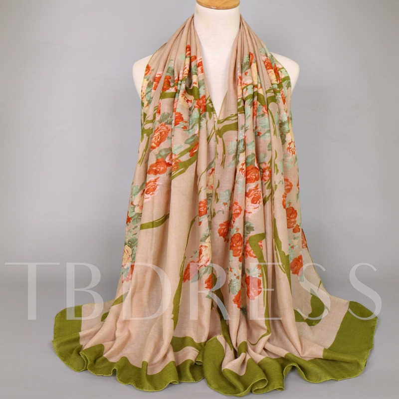 Chinese Style Voile Rose Floral Print Scarfs