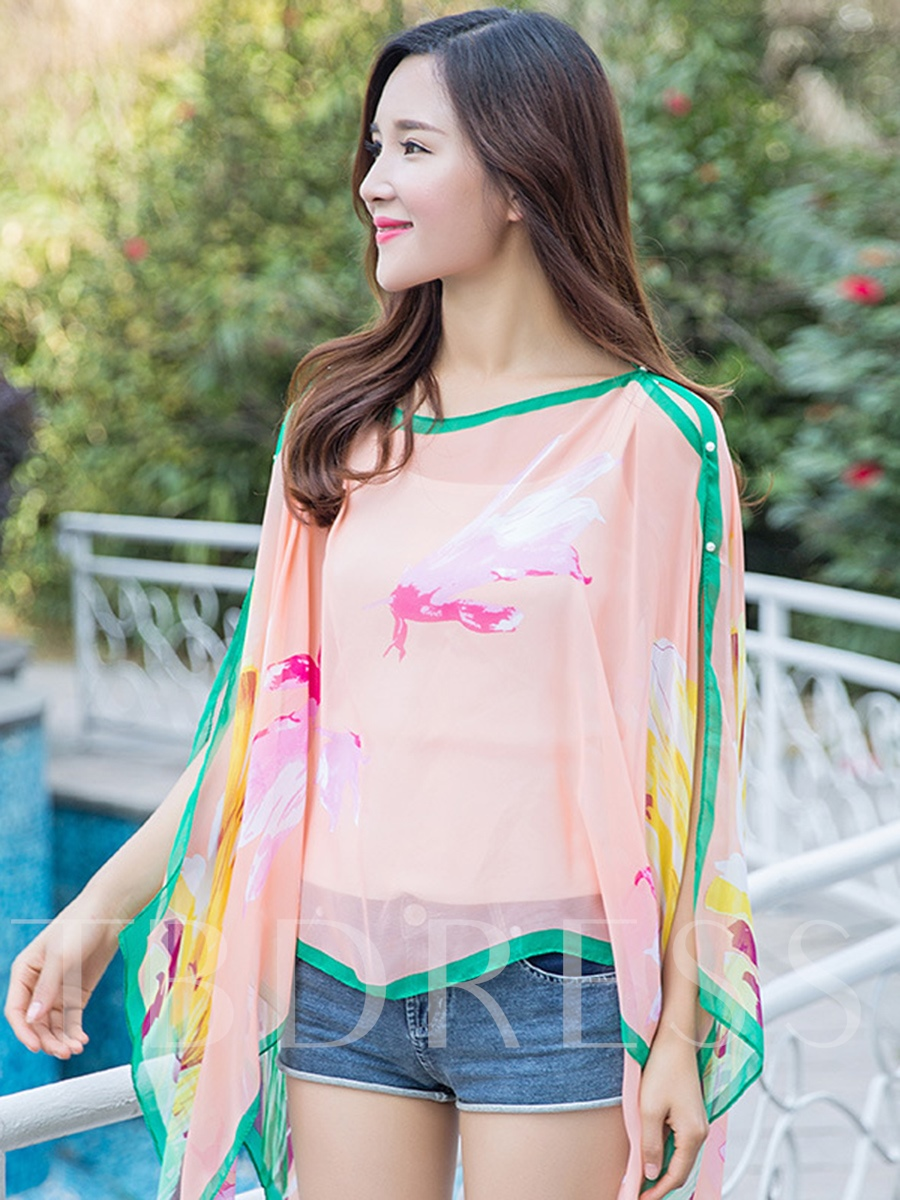 Print Chiffon Long Sunscreen Cover-Up