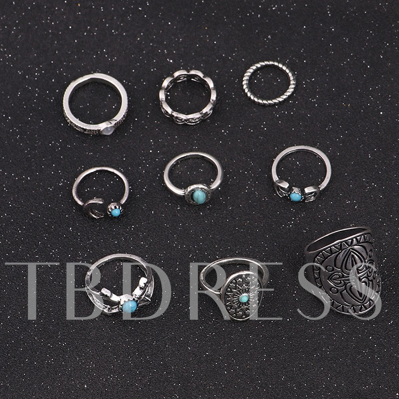 Green Imitation Turquoise Alloy Joint Knuckle Ring