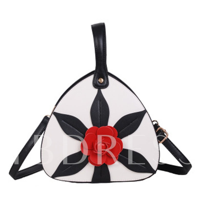 Triangle Shape Floral Pattern Cross Body Bag