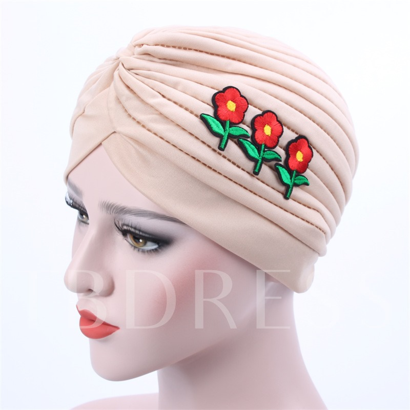 Pleated Appliques Knitted Solid Color Moslem Hats