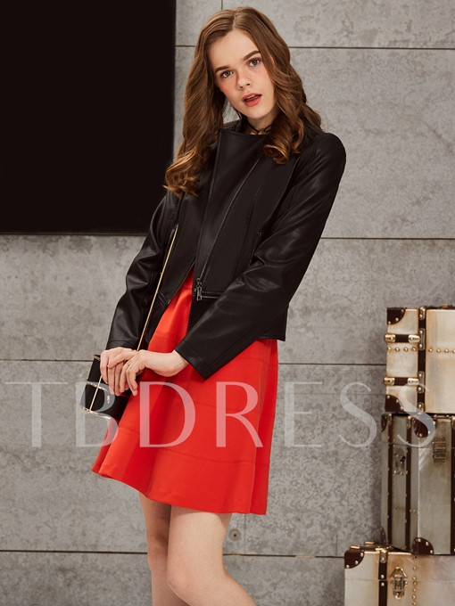 Fashion Zipper Solid Color Women's Jacket