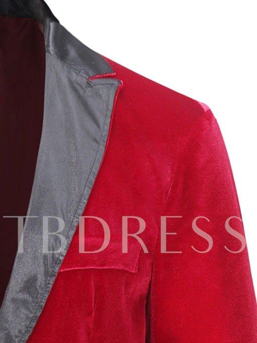 Notched Collar Patchwork Fleece One Button Slim Men's Blazer