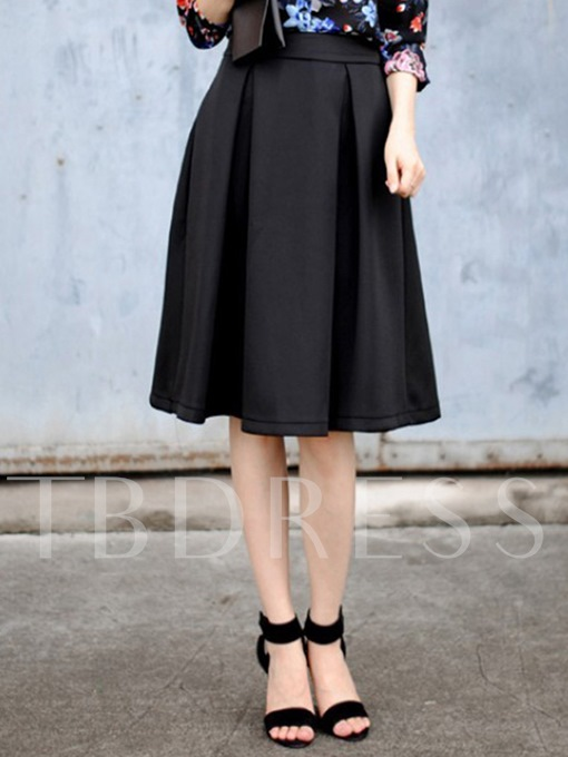 Plain A-Line Mid-Calf Women' s Skirt