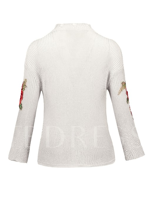 Thin Floral Embroideried Pullover Women's Vacation Sweater