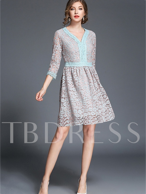 Half Sleeve V Neck Light Blue Women's Lace Dress