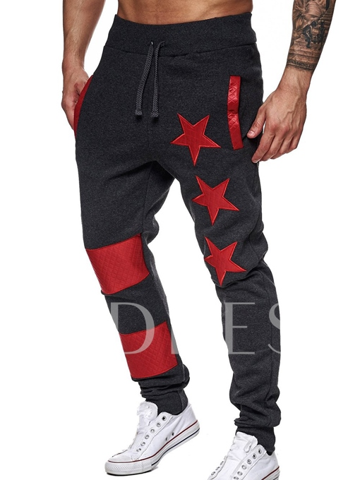 Lace-up Star Stripe Printed Leisure Men's Casual Pants