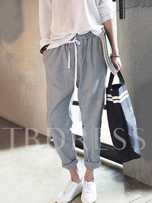 Lace-Up Full Length Women's Casual Pants