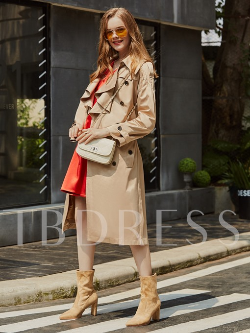 Double-Breasted Falbala Lapel Women's Trench Coat