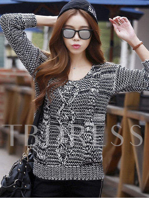 Loose Round Neck Pullover Women's Thread Sweater