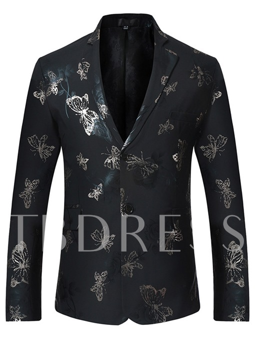 Notched Collar England Style Floral Printed Slim Men's Blazer