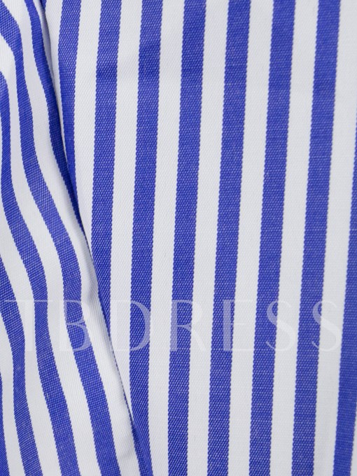 Lapel Button Up Stripe Letter Print Women's Shirt