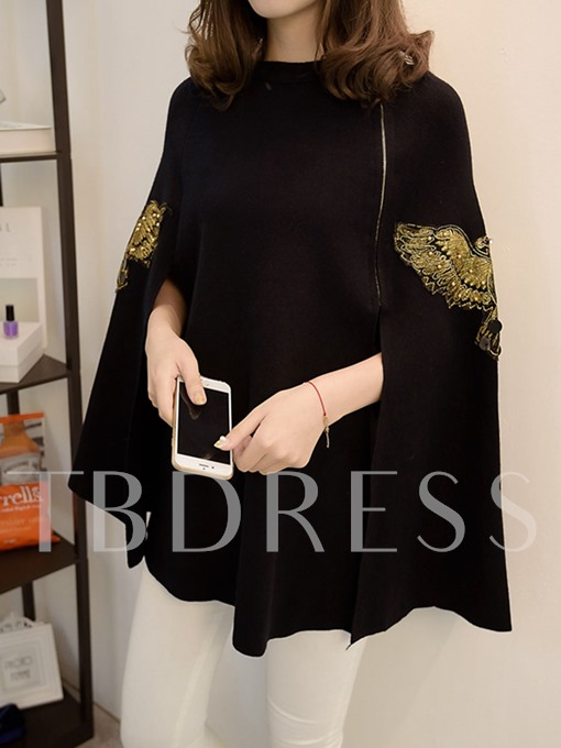 Embroidery Bead Pullover Loose Women's Cape