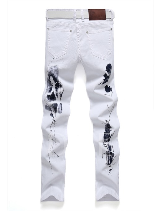 Mid Waist Elastic Printed Slim Fit White Men's Fashion Jeans