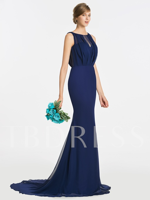 Scoop Pleats Long Trumpet Bridesmaid Dress