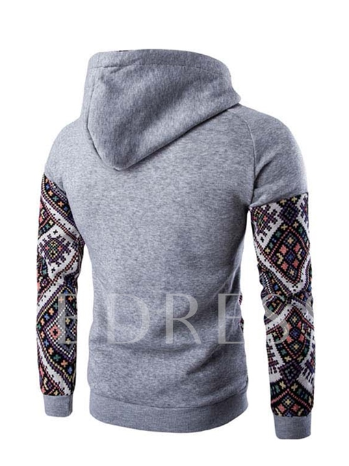 Hooded Patchwork Ethnic Printed Leisure Slim Men's Hoodie