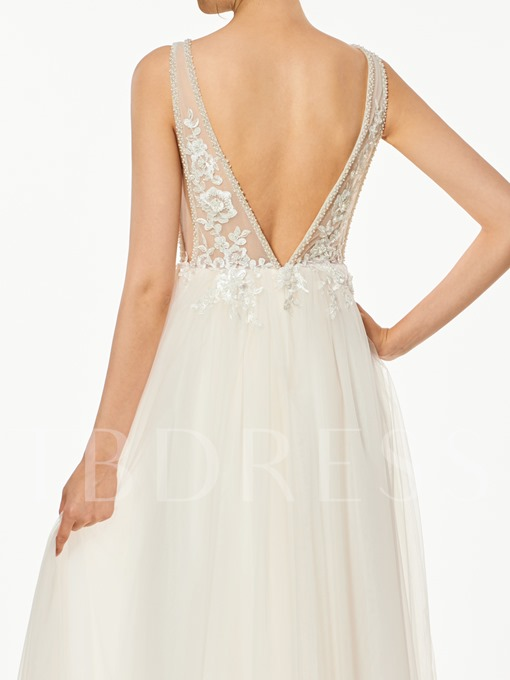 A-Line Appliques Sequins V-Neck Prom Dress