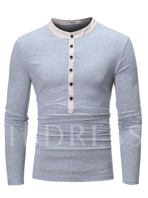 Round Collar Button Decorated Slim Fit Men's Long Sleeve T-Shirt