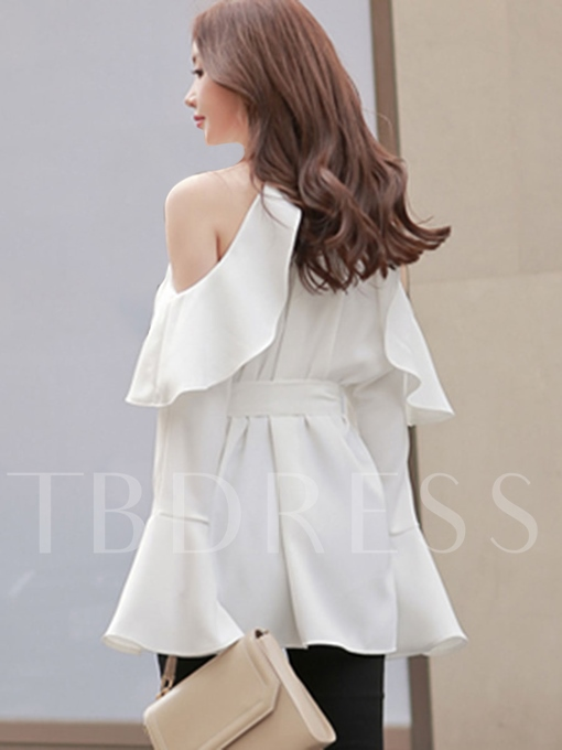 Asymmetric Drop Shoulder Halter Flare Sleeve Women's Blouse