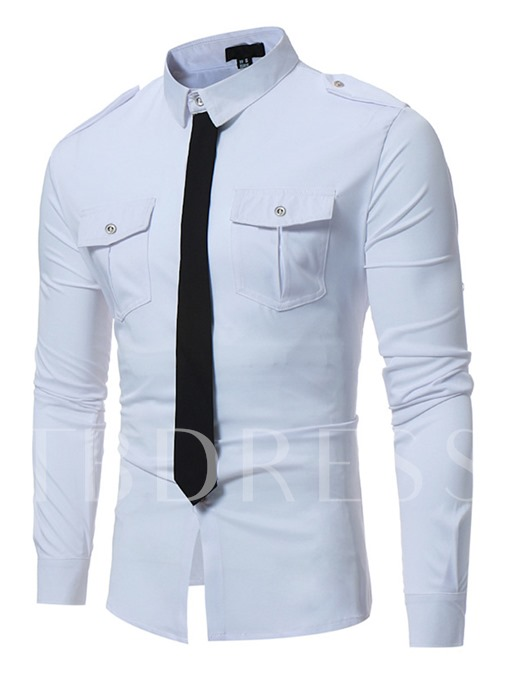 Lapel Fake Tie Pocket Slim Fit Leisure Men's Button Shirt