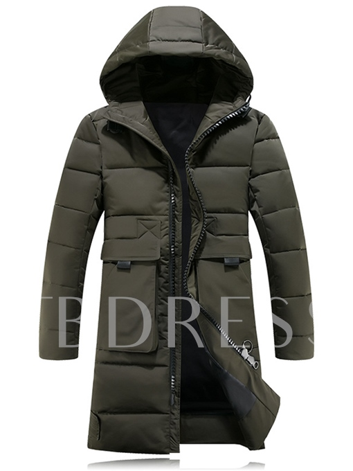 Hooded Long Pattern Solid Color Thicken Warm Down Men's Coat