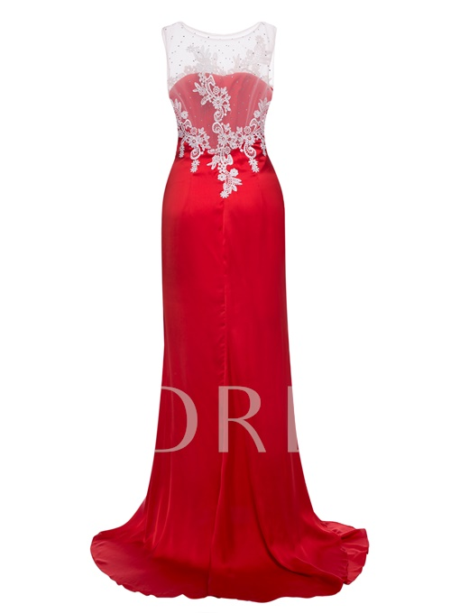 Scoop Neck Appliques Mermaid Evening Dress