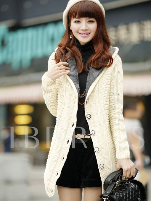 Flocking Single-Breasted Thick Women's Cardigan