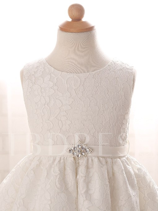 Jewel Neck Sashes Lace Baby Girl's Christening Gown