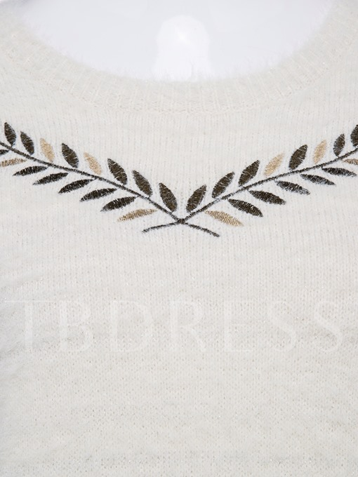 Round Neck Plant Embroidery Pullover Vacation Women's Sweater