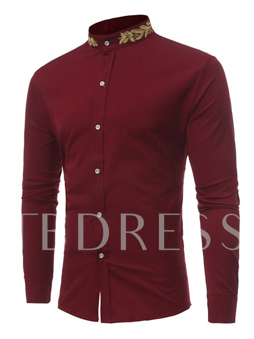 Embroidery Stand Collar Single-Breasted Plain Men's Shirt