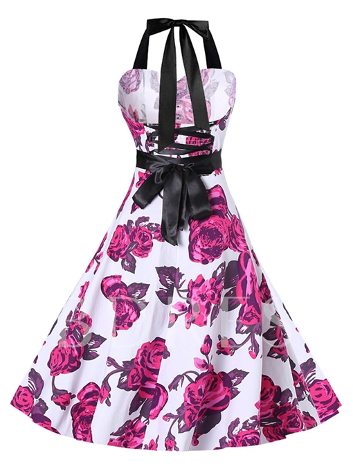 Lace up Halter Printing Women's Day Dress
