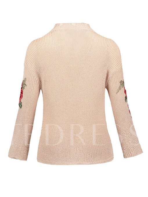 Thin Drop-Shoulder Floral Embroideried Women's Vacation Sweater