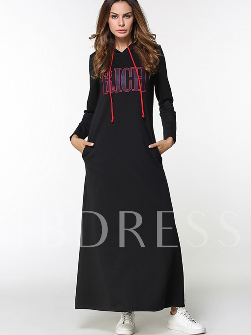 Black Hooded Letters Printed Women's Maxi Dress