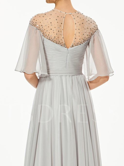 A-Line Half Sleeves Beading Bowknot Sashes Scoop Prom Dress