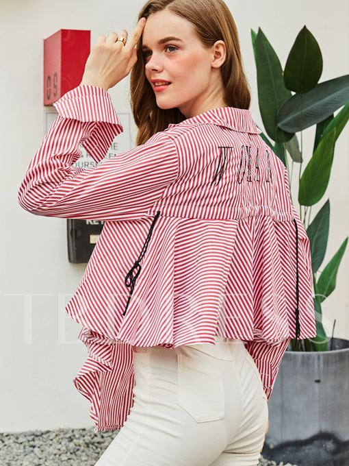Lapel Single-Breasted Stripe Letter Embroideried Women's Shirt