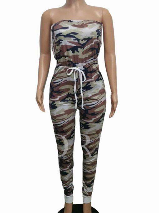 Slim Camouflage Backless Women's Jumpsuit