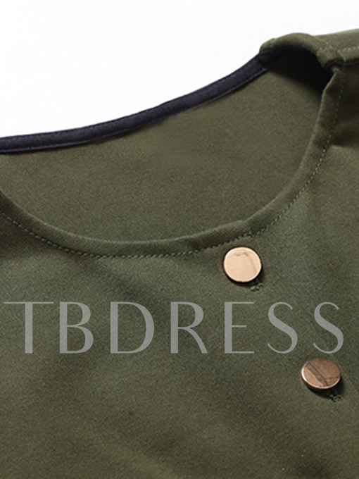 Army Green Single-Breasted Women's Maxi Dress
