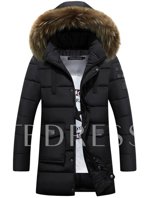 Hooded Midi Pattern Thicken Warm Down Men's Winter Coat