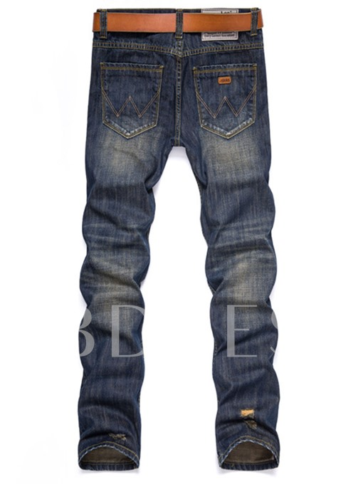 Mid Waist Worn Hole Slim Fit Men's Fashion Jeans