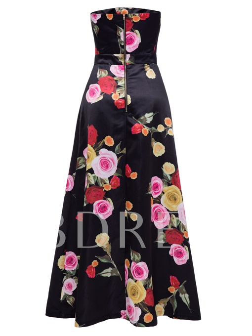 Black Strapless Floral Vacation Women's Maxi Dress