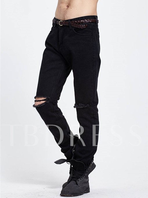 Motor Style Hole Solid Color Slim Fit Men's Fashion Jeans